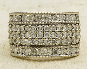 Sparkling Bold 10K Yellow Gold Women's 2.50ctw Natural Round Diamond Cluster Ring Size 8.75 - 6.6 grams FREE SHIPPING!!