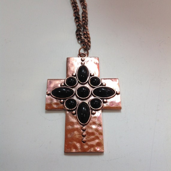 Cross, Hammered Copper and Black Stone Cross, Hammered Copper