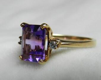 Amethyst Ring 2.25 ct Amethyst Engagement Ring Genuine Diamond Art Deco Cushion Cut Alternative Engagement February Birthday