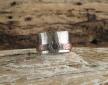 Size 7 sterling silver copper mixed metal horse shoe spinner ring meditation fidget worry rodeo queen cowgirl