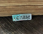 Recycled Fine Silver Name Charm Pendant, PMC Name Charm Pendant