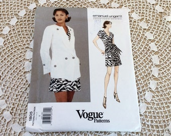 Vogue Emanuel Ungaro Pattern, Vogue 1805, Vogue Paris Original, Wrap Top and Skirt, Uncut, Size 8