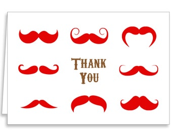 Guajolote Prints Mustache Thank You Notes 12 Cards & Envelopes