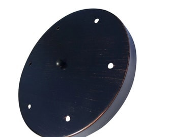 "Oil Rubbed Bronze Multi Port Canopy Kit , 12"" Diameter, 6 Hole Canopy by Industrial Rewind"