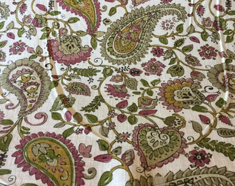 14 yards of linen white,pink,olive green fabric paisley fabric by the yard. 9.99 per yard