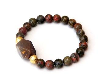 Unakite bracelet, gemstone bracelet, energy bracelet, yoga bracelet,wrist mala, healing bracelet, fall bracelet, autumn bracelet
