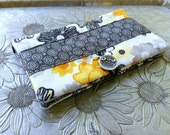 Women's Wallet, Yellow and Gray Floral Wallet, Clutch