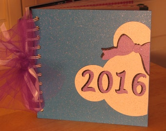 Disney Autograph Book with MINNIE Mouse Head and Purple Bow