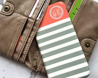 Pretty iphone 8 case, Cute Iphone 6 case, Monogram iPhone 7 case, Girls iPhone 5 case, Womens Iphone 5s case Stripes tangerine gray (9877)