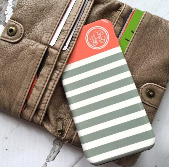 Pretty iPhone 4 case, Cute Iphone 6 case, Monogram Iphone 5c case, Girls iPhone 5 case, Womens Iphone 5s case Stripes tangerine gray (9877)