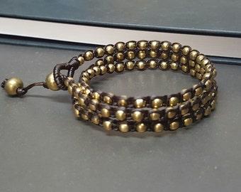 Handmade Triple Wrap Brass Bracelet Anklet