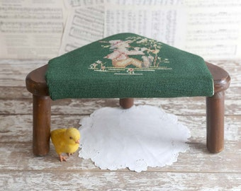 Vintage Stool, Upholstered Stool, Green Upholstered Stool, Stool for Nursery, 3 Leg Stool, Vintage Nursery Stool Decor
