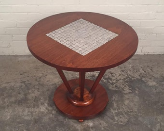 Lane Mid-Century Modern End Table With Tile Inlay / Nightstand - Mad Men / Eames Era Decor *SHIPPING NOT INCLUDED*