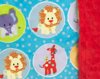 Baby Double Minky Blanket  Zoo Animals Theme  *Stroller, Crib, Carseat