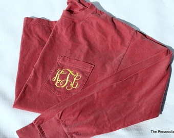 Comfort Colors Pocket Tee Long Sleeve Shirt Monogrammed Personalized T-Shirt