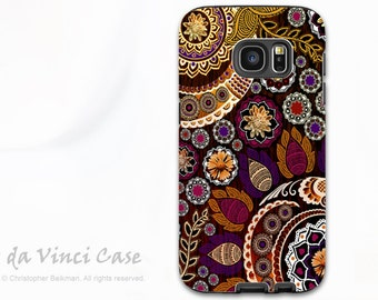Fall Paisley Galaxy S7 Case - Premium Dual Layer Samsung Galaxy S 7 Case with Floral Art - Autumn Mehndi