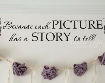 Because every picture has a story to tell, Every Family has a story, each picture, photo wall decal Foyer living room vinyl quote HH2092