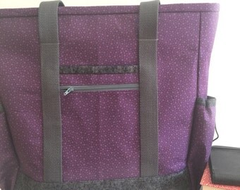 Work Tote, Travel Tote, Large Tote Bag with Pockets, Purple Grey Kitchen Sink Tote, Professional Tote, Zippered Teacher Tote, Nurse Tote
