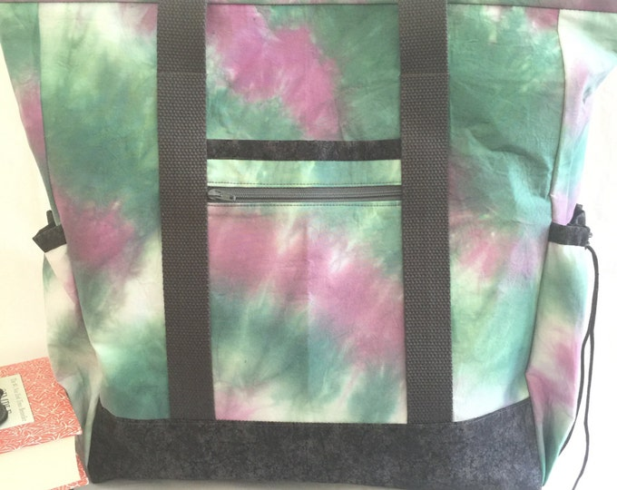 Large Tote Bag with Pockets, Teacher Tote, Work Tote, Diaper Bag, Purple Teal Tie Dye Kitchen Sink Tote, Professional Tote, Nurse Tote
