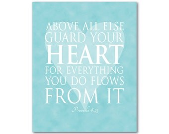 Above all else, guard your heart - Typography Wall Art - Inspirational Bible Quote Proverbs - heart silhouette - wall decor - Proverbs