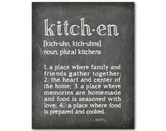 Typography - kitchen definition - word art - Kitchen Wall Art - The heart of the home - where family & friends gather - chalkboard print