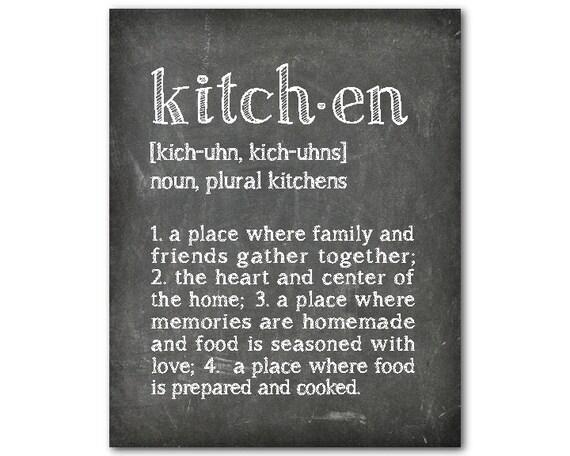 Typography Kitchen Definition Word Art Kitchen Wall Art