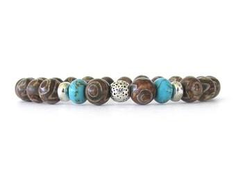 Tibetan Agate Men's Bracelet - Men's Jewelry - Stretch Bracelet - Bracelets for Men - Mens Beaded Bracelet -  - M1513
