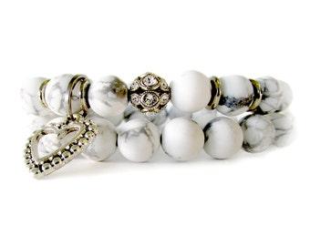 Matte White Howlite Bridal Bracelets - Bridal Jewelry - Charm Bracelet - Wedding Jewelry - Wedding Bracelets - Bracelets for Brides - WW1002