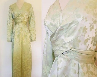 1970s Vintage Brocade Evening Gown Size Small