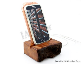 Curly Redwood and Copper Smart Phone Docking Station  - Steam Punk Phone Stand Unique