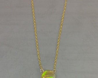 Champagne Ethiopian Opal Necklace (6mm)