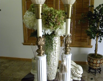Antique Torchiere Lamps Paris Apartment Table Lamps 1920's Art Deco Column Lamps with Marble Base