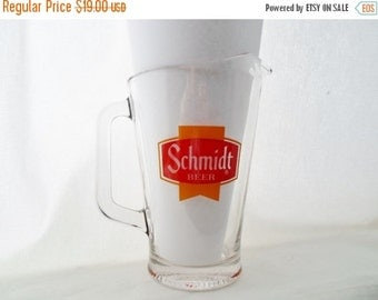 ON SALE Schmidt Beer, Pitcher, Vintage, Serving, Bar, Barware, Beer, Red, Gold, Collectibles, Glass