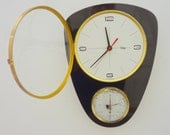 French ODO 1950-60s Atomic Age Wall Clock + Barometer  - Vintage Clock - Funky Oblong Shape - Mid Century Chic - Pristine Condition