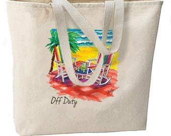 Off Duty Beach New Tote Bag Shop Travel Events Gifts Vacation