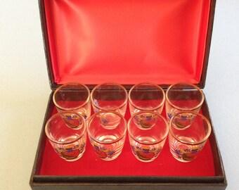Vintage Gold Rimmed Shot Glasses - Set of Eight Hornburg Crest
