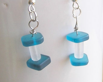 Teal Blue and Frost White Recycled Glass Dangle Earrings
