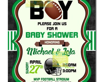 American Football Boy Baby Shower Invitation, Football Baby Shower Invitation, Its a Boy Baby Shower Invitation, Football Boy Baby Shower In