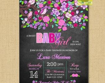 Birds Baby Shower, Spring Baby Shower Invitation, Lilac teal pink birds invitation, Garden baby shower invitation, baby girl baby shower