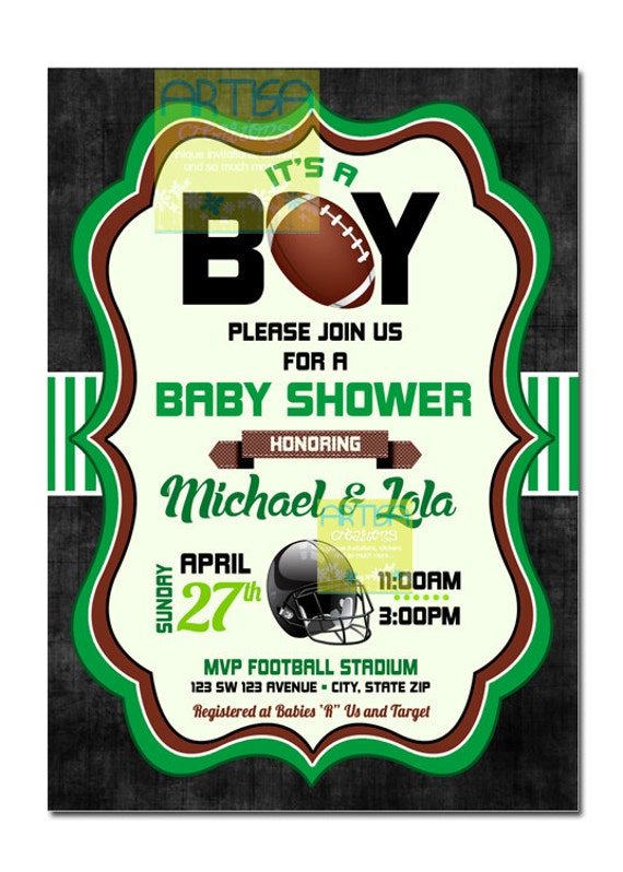 american football boy baby shower invitation football baby shower