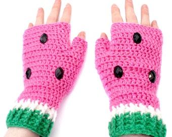 Watermelon Fingerless Gloves Custom Color Fruit Texting Mittens Pink & Green Crochet Decora Melon Vegan Hand Warmers Acrylic Girls Gloves