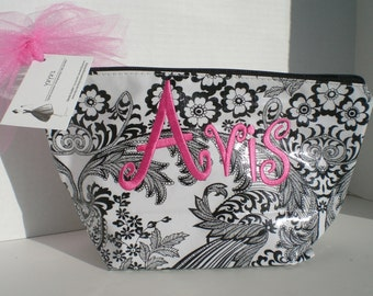 Black Lace XL Cosmetic bag monogrammed Oilcloth