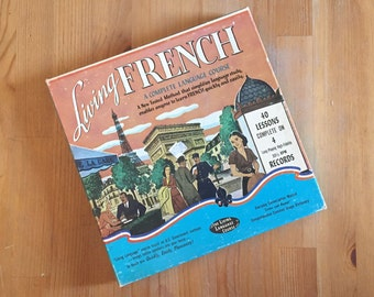 "LIVING FRENCH Complete Language Course 4 Vinyl 10"" Record Set 33 1/3"
