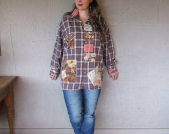 Boyfriend plaid shirt upcycled clothing patchwork camping shirt L XL 1X woodland rustic grunge rodeo Boho chic hippie top LillieNoraDryGoods