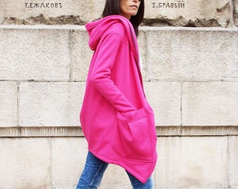 NEW Lined Warm Asymmetric Extravagant Hot Pink Hooded Coat / Quilted Lined Cotton Jacket / Thumb Holes / Outside and Inside pockets A07177