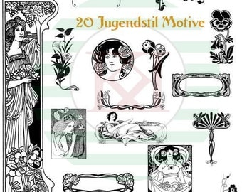 Download Art Nouveau Set of 20 motifs as TIFF in 600 dpi