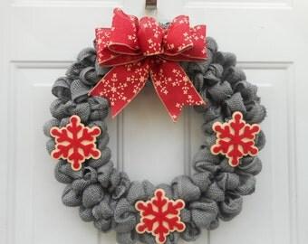 Winter wreath Winter burlap wreath Winter Grey burlap wreath Winter snowflake wreath Snowflake wreath Winter decor Winter burlap decor RTS