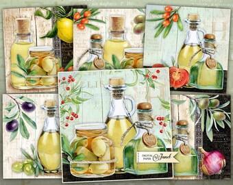 Olive Cards - set of 6 - digital collage sheet - Printable Download