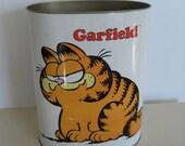 Vintage Garfield Metal Trash Can