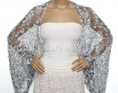 Wedding Shrug Knit Silver Shrug Cover Ups Shawls Wraps Long Sleeve Evening Shrug Weddings Bridal Accessories Shrugs Boleros Bridesmaids Gift